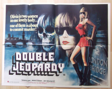 Double Jeopardy, RARE UK Quad Poster, Horror, GHOUL art!, Suzanna Love, '83